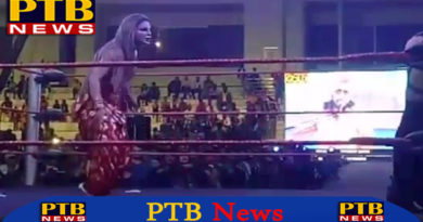 "PTB Big News ""मनोरंजन"" actress rakhi sawant beaten by female wrestler admitted in hospital panchkula"