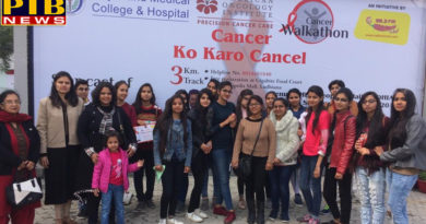 students of SD College for Women, organized in Ludhiana, participated in a Cancer Walk-One Piece