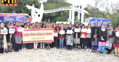 Lyallpur Khalsa College for Women protested against the intense attack on CRPF jawans