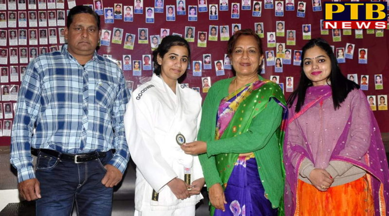 "PTB News ""शिक्षा"" Girl winning medal in Judo at SD College for women jalandhar"