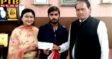 St Soldier Group gave Scholarship to Amandeep Singh who is son of Ex Employee Indian Air Force for his study in BSc Media,