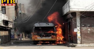 PTB Big Accident News fire in moving school bus in ludhiana