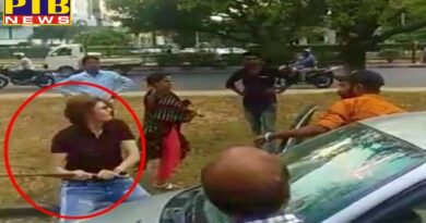 woman attacked man with rod in road rage in chandigarh, video viral
