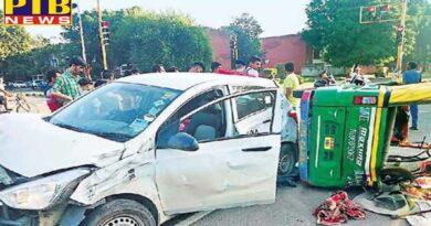 Punjab Car, auto collision, 8 injured Chandigarh
