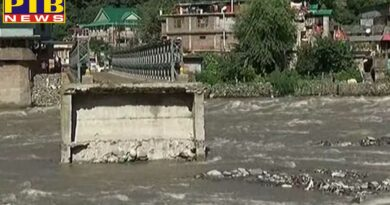 The bridge built on the Beas river 5months ago is collapse in flood