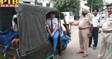Jalandhar Traffic Police Challans for overloaded school vehicles