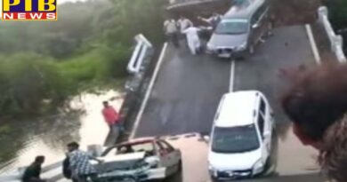 Many cars damaged after a bridge collapsed in Junagadh in Gujarat