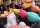 Punjab aap MP Bhagwant Maan and MLA protest outside punjab assembly