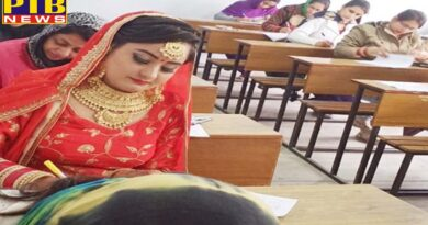 The bride arrived at Lyallpur Khalsa College wearing a red couple and red bangle in her hands