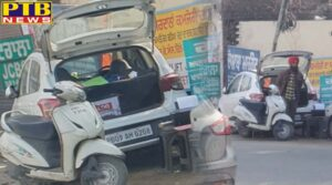 Jalandhar traffic Police driver of the car public Traffic Rules Near Main Road Jalandhar Near Bus Stand car is parked on the side of