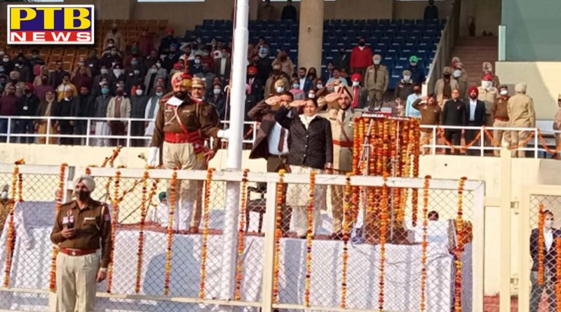 republic day jalandhar Cabinet Minister Aruna Chaudhary waved the tricolor flag on the auspicious occasion of Republic Day 2021 in Jalandhar