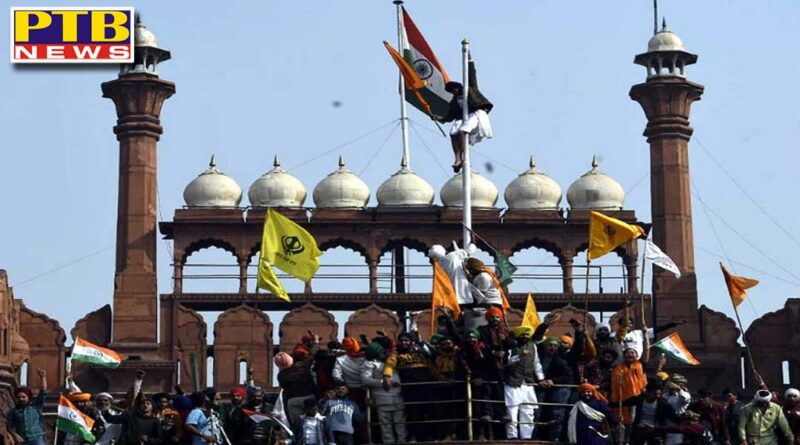 protesting farmers at red fort Republic Day 2021